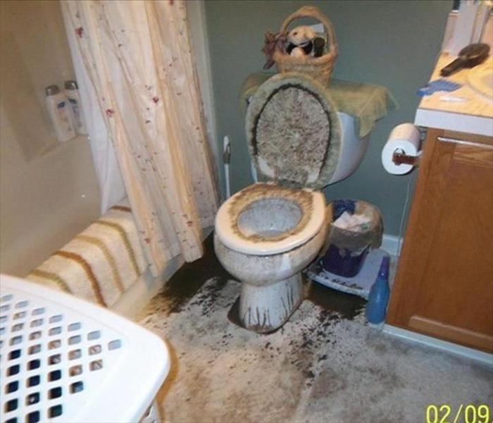 Sewage cleanup sewer toilet overflow servpro of for Sewer backup smell in house